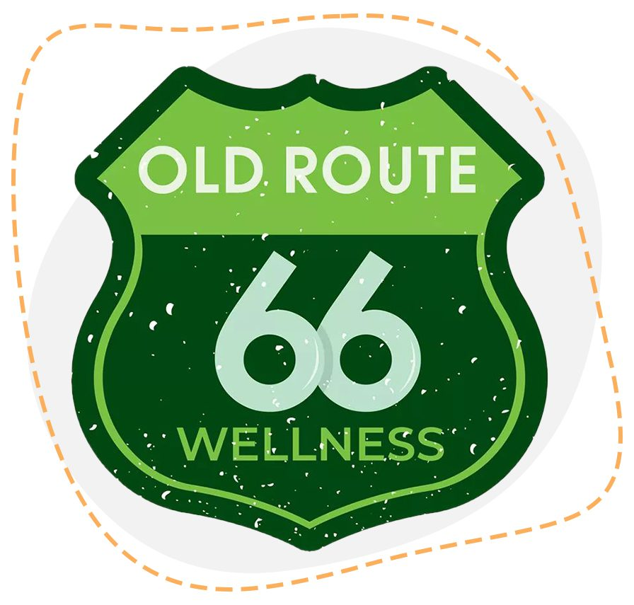 Old Route 66 Wellness logo with path guides